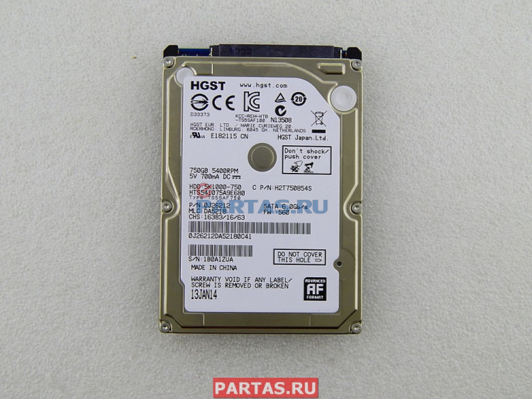 Жёсткий диск HDD 750 Gb SATA 6Gb/s Hitachi Travelstar HTS541075A9E680